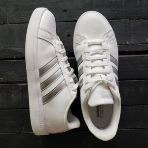 Adidas White Silver Cloudfoam Ortholite Sneakers 9